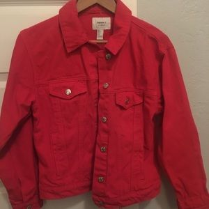 Forever 21 Women's Red Denim Button Up Jacket